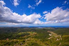 Menorca North aerial view from Pico del Toro Stock Photos