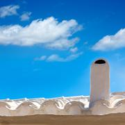 Menorca Es Grau white house chimney detail in Balearics - stock photo