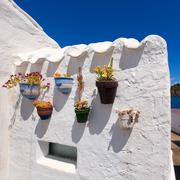 Menorca Es Grau white house flower pots detail in Balearic - stock photo