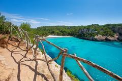 Stock Photo of Cala Macarella Menorca turquoise Balearic Mediterranean