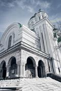Exterior of orthodox old antique church - stock photo