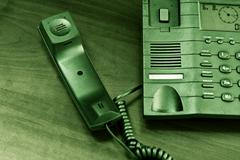 Analog phone in grungy style - stock photo