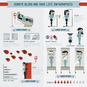 Donate blood and save life info graphics Stock Illustration