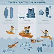 Stock Illustration of The sea of activities in summer vector set