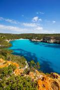 Cala Macarella Menorca turquoise Balearic Mediterranean - stock photo