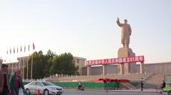 Chairman Mao statue, Kashgar, China Stock Footage