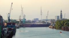 Hamburg_Harbour_Skyline Stock Footage