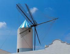 Menorca Sant Lluis San Luis Moli de Dalt windmill in Balearic - stock photo