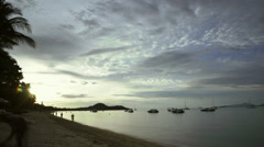 Time Lapse of Sunset at Fisherman's Village Beach in Ko Samui, Thailand Stock Footage