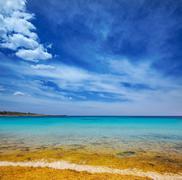 Menorca Son Saura beach in Ciutadella turquoise Balearic - stock photo