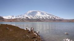 Xinjiang lake & mountains, China Stock Footage