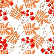 Rowanberry branch seamless pattern. Vector background - stock illustration