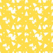 Forest squirrel and fir tree yellow seamless pattern. Vector background - stock illustration