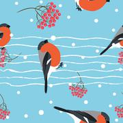 Stock Illustration of Bullfinch and berberry branch seamless pattern. Vector background