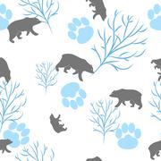 Forest bear and tree branch seamless pattern. Vector background - stock illustration