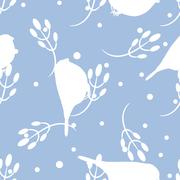 Bullfinch and berberry branch seamless pattern. Vector background Stock Illustration