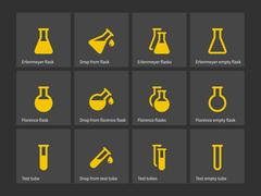 Florence and erlenmeyer flasks icons - stock illustration