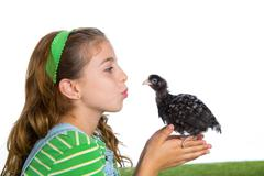 breeder hens kid girl rancher farmer kissing a chicken chick - stock photo