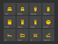 Double and single bed icons - stock illustration