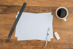 paper, Eraser Ruler and Mechanical pencil with coffee - stock photo