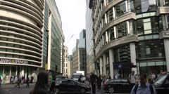 Aircraft flies over Fenchurch Street in London Stock Footage