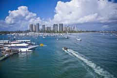 Big marina in front of the city - stock photo