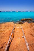 Formentera Cala Saona beach Balearic Islands - stock photo