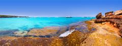 Formentera panoramic Cala Saona beach Balearic Islands - stock photo