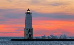 Stock Photo of Frankfort Lighthouse Sundown