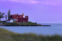 Point Betsie Light at Sundown - stock photo