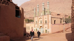 Uighur muslims, mosque, Tuyoq village, China Stock Footage