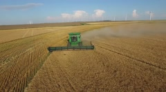 John Deere Wheat Harvest Aerial Stock Footage