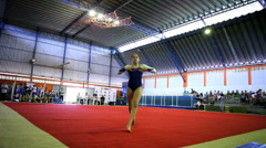 Gymnastic Floor Exercise Training. Gym. Games. Stock Footage