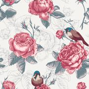 Botanical floral seamless pattern with roses and birds - stock illustration
