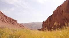 Flaming Mountains scenery, Xinjiang, China Stock Footage