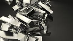 Animated falling stock of fine bars of silver Stock Footage