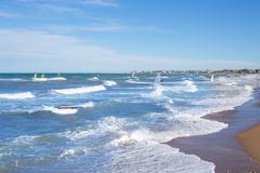 Wind surf in Denia Oliva in Valencian community Mediterranean - stock photo