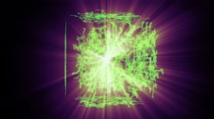 A rotating cube formation with green grids and effects - Grid 3026 HD, 4K Stock Footage
