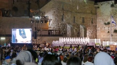 Event at Western Wall With Monitor Stock Footage