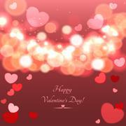 Glow Soft Hearts Valentines Day Background - stock illustration
