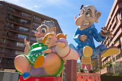 Fallas is a popular fest in Valencia Spain figures will be burne - stock photo