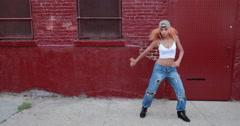 Young Latina Hispanic woman in New York City dancing Stock Footage