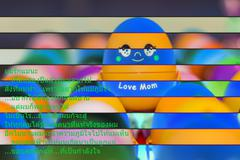 Abstract background of love, Colorful gift egg love for mom. - stock illustration