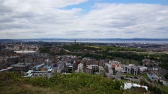 Edinburgh city view From Holyrood Park Stock Footage