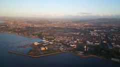 Flying in to Edinburgh Scotland Stock Footage