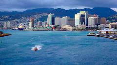 View Honolulu From Cruiseship Leaving Harbor Stock Photos