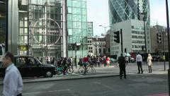 Lift goes up a tall glass fronted building in London next to The Gerkin Stock Footage