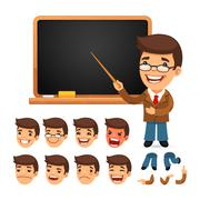 Set of Cartoon Teacher Character for Your Design or Animation Stock Illustration