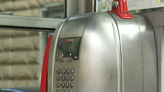 Detail of old Italian telephone booth Stock Footage