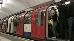 London Underground train departs 2 - No sound Stock Footage